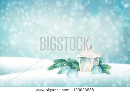 Vector Winter Christmas Scene Background