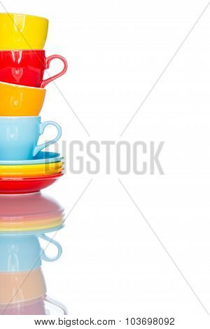 Play Multiple Colorful Coffee Cup Mug On Reflection Table