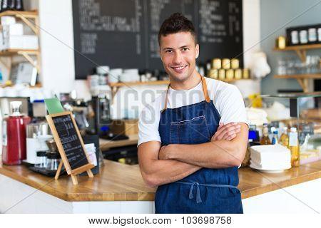 Man working in coffee shop