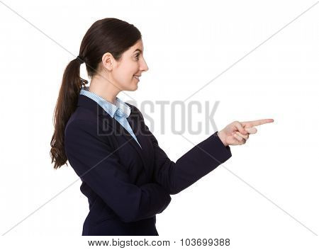 Side profile of Businesswoman with finegr point front