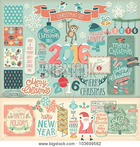 Christmas scrapbook set - decorative elements. Vector illustration.