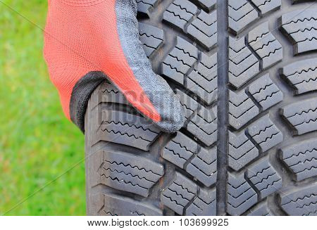 Closeup Of Winter Car Tire