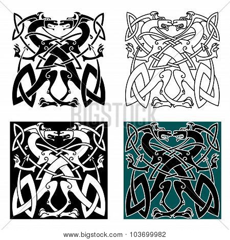 Dragons celtic knot vintage pattern