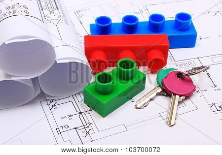 Home Keys, Building Blocks And Electrical Diagrams On Drawing Of House