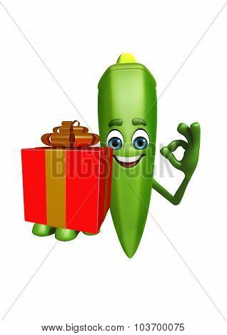 Cartoon Character Of Ladyfinger With Gift Box