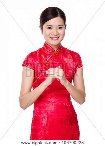 Chinese woman with blessing gesture