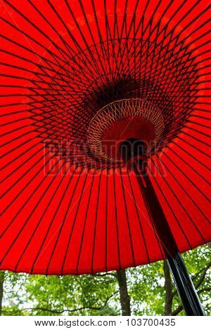 Red oriental paper umbrella