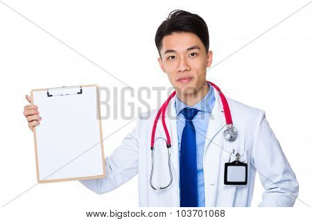 Doctor show with the blank page of clipboard