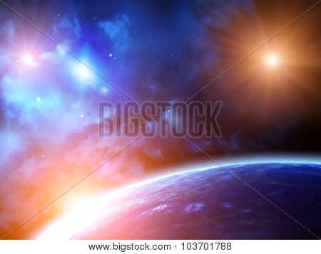 A beautiful space scene with sun, planets and nebula. Element of this image furnished by NASA