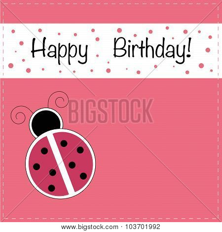 Ladybug Happy Birthday Invitation