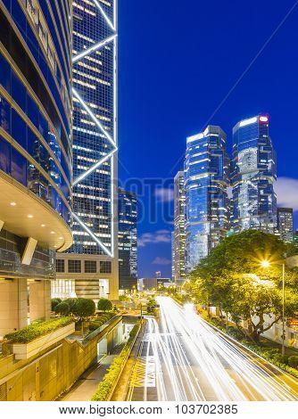 Cityscape of Hong Kong at twilight