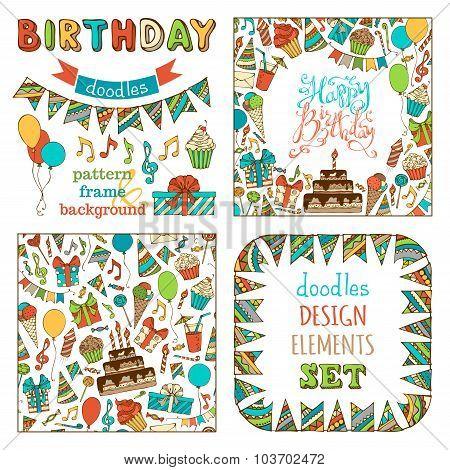 Hand-drawn Happy Birthday Set.