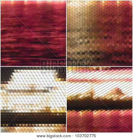 Night city landscape. Collection of abstract multicolored backgrounds. Natural geometrical patterns.