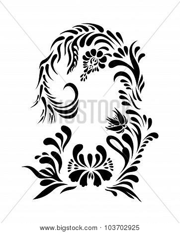 Vector black floral silhouette.
