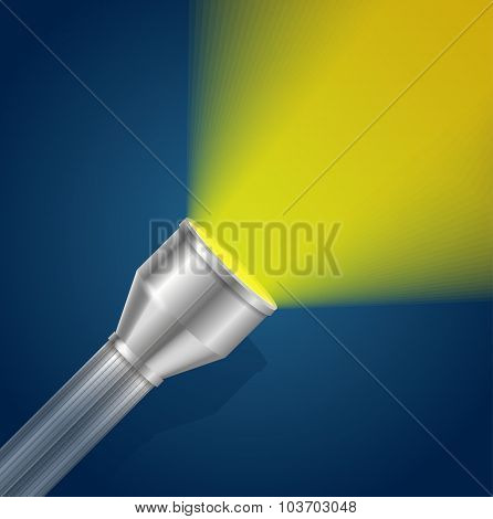 Pocket Torch Light Flashlight. Vector