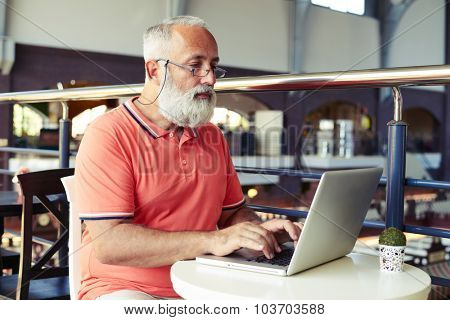 stylish senior man with beard and moustache working with laptop in cafe