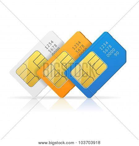 Sim Card Set. Vector