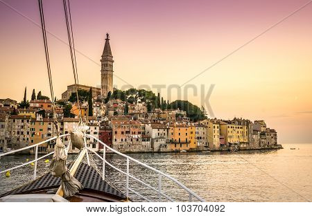 Sail Boat And Charming Rovinj, Croatia