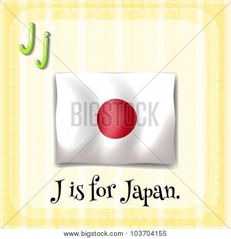 Flashcard letter J is for Japan illustration