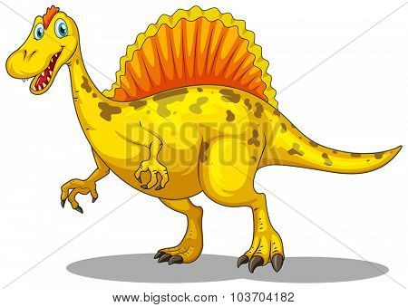 Yellow dinosaur with sharp claws illustration
