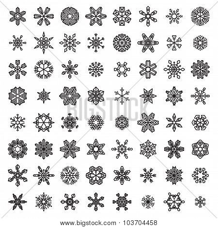 Vector Set Of Linear Snowflakes.