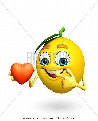 Cartoon Character Of Lemon With Heart