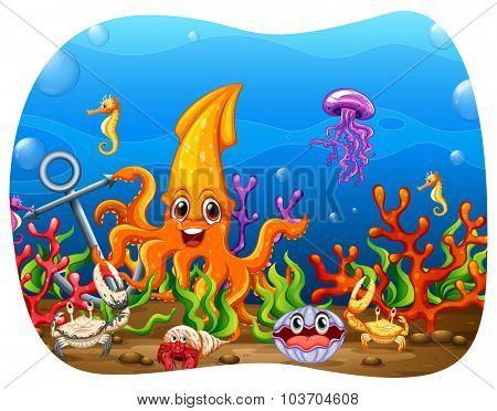 Sea animals under the water illustration