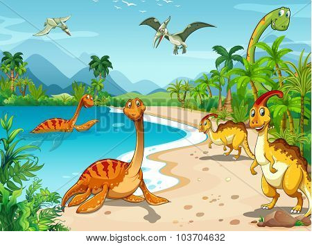 Dinosaurs living on the beach illustration