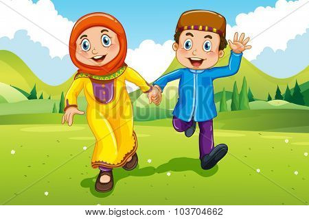 Muslim boy and girl holding hands illustration