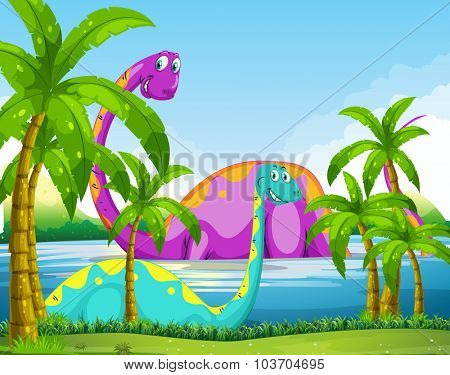 Dinosaur having fun in the lake illustration