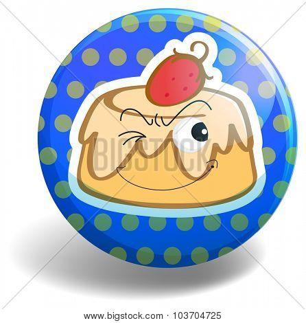 Custard cake on round badge illustration