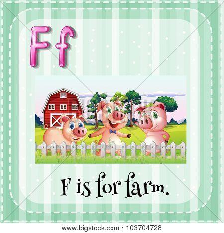 Flashcard alphbet F is for farm illustration