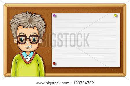 Old man and wooden board illustration