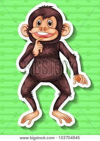 Little chimpanzee smiling alone illustration