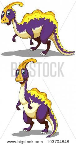 Two parasaurolophus standing on two legs illustration