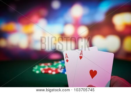 Poker Chips With Aces Cards