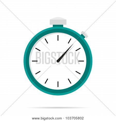 Stopwatch Icon Flat Design With Shadow Blue Circle