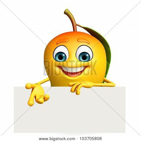 Cartoon Character Of Mango With Sign