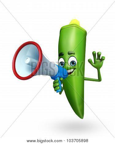 Cartoon Character Of Ladyfinger With Loudspeaker