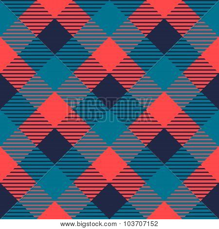 Checkered gingham fabric seamless pattern in grey blue and pink, vector