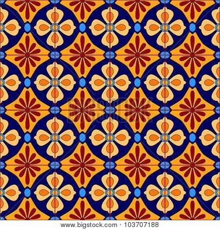 Mexican stylized talavera tiles seamless pattern in blue and yellow, vector