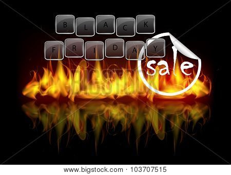 Black Friday Sale Background With Fire