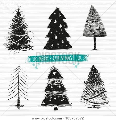 Set Of Drawing Christmas Trees. 6 Designs In One File.