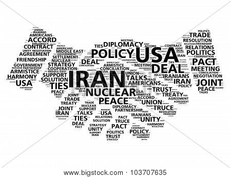 United States and Iran nuclear deal agreement word cloud in shape of handshake