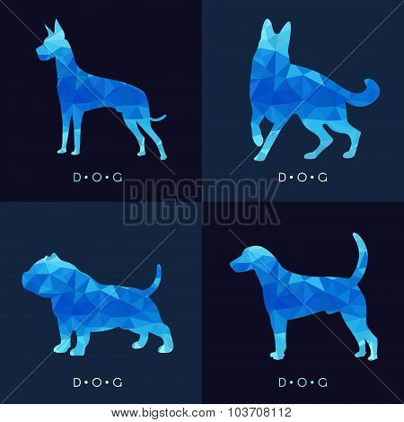 Dog - Blue low poly vector set Design