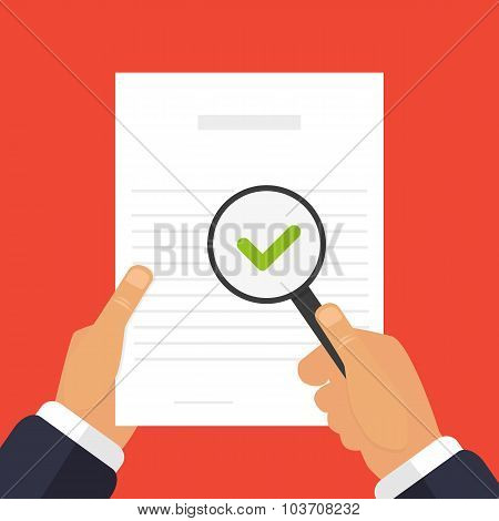 Check Of Documents Illustration A Magnifying Glass In Hand
