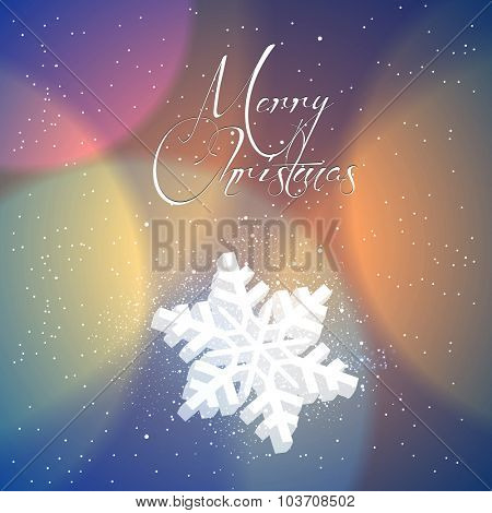 Merry Christmas snowflakes typography illustration
