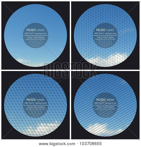 Set of 4 music album cover templates. Blue cloudy sky. Abstract multicolored backgrounds. Natural ge