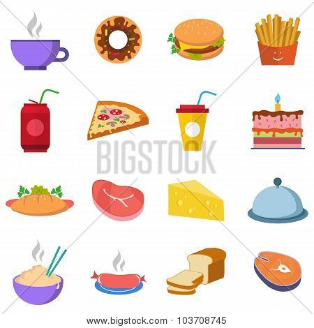 Set A Variety Of Food, Water And Meat Fastfood