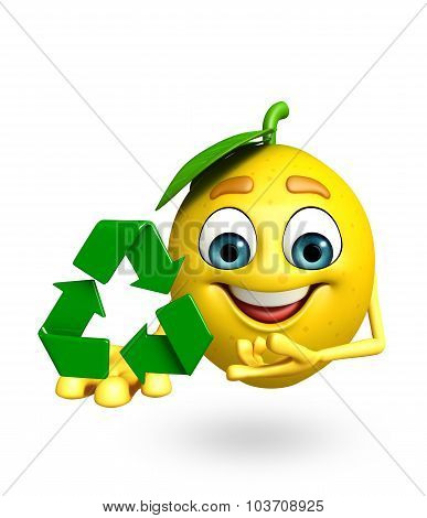 Cartoon Character Of Lemon  With Recycling Icon